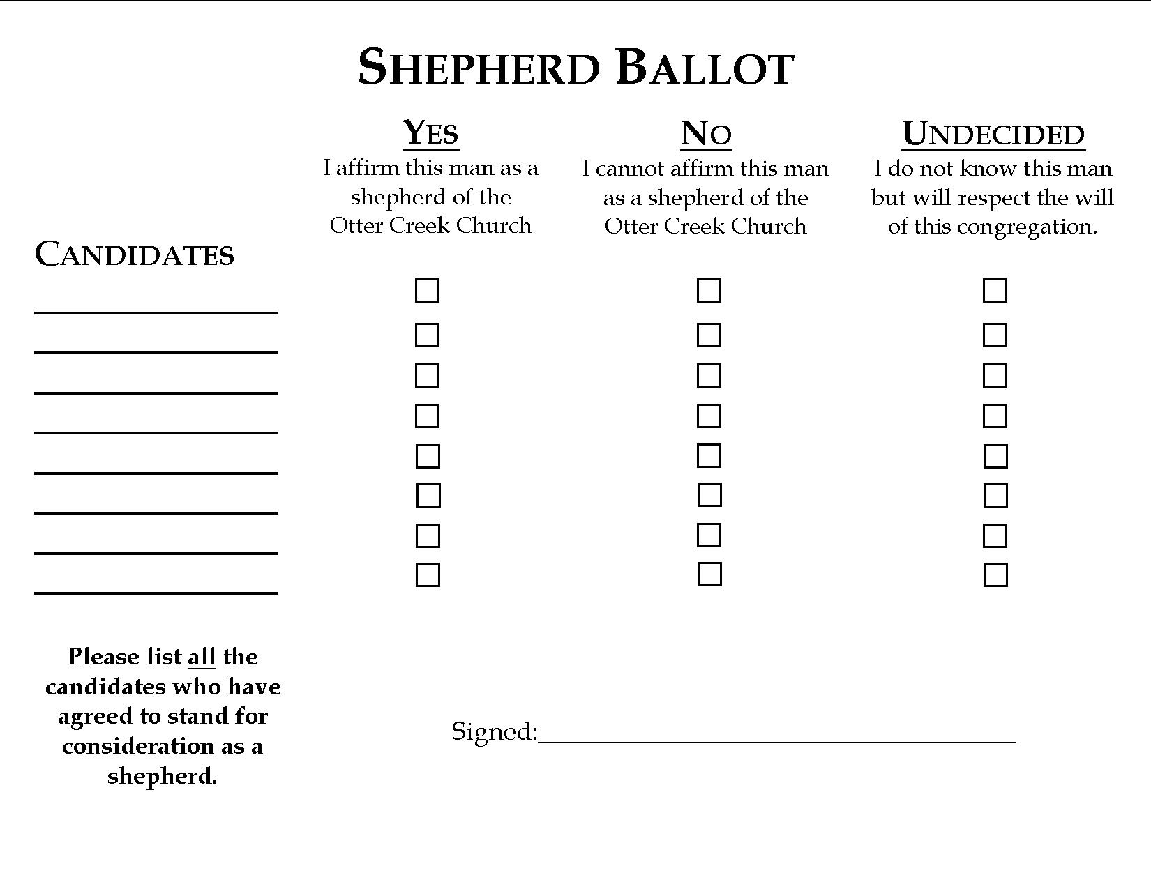 Congregational Ballot used for the affirmation or rejection of Elder candidates.