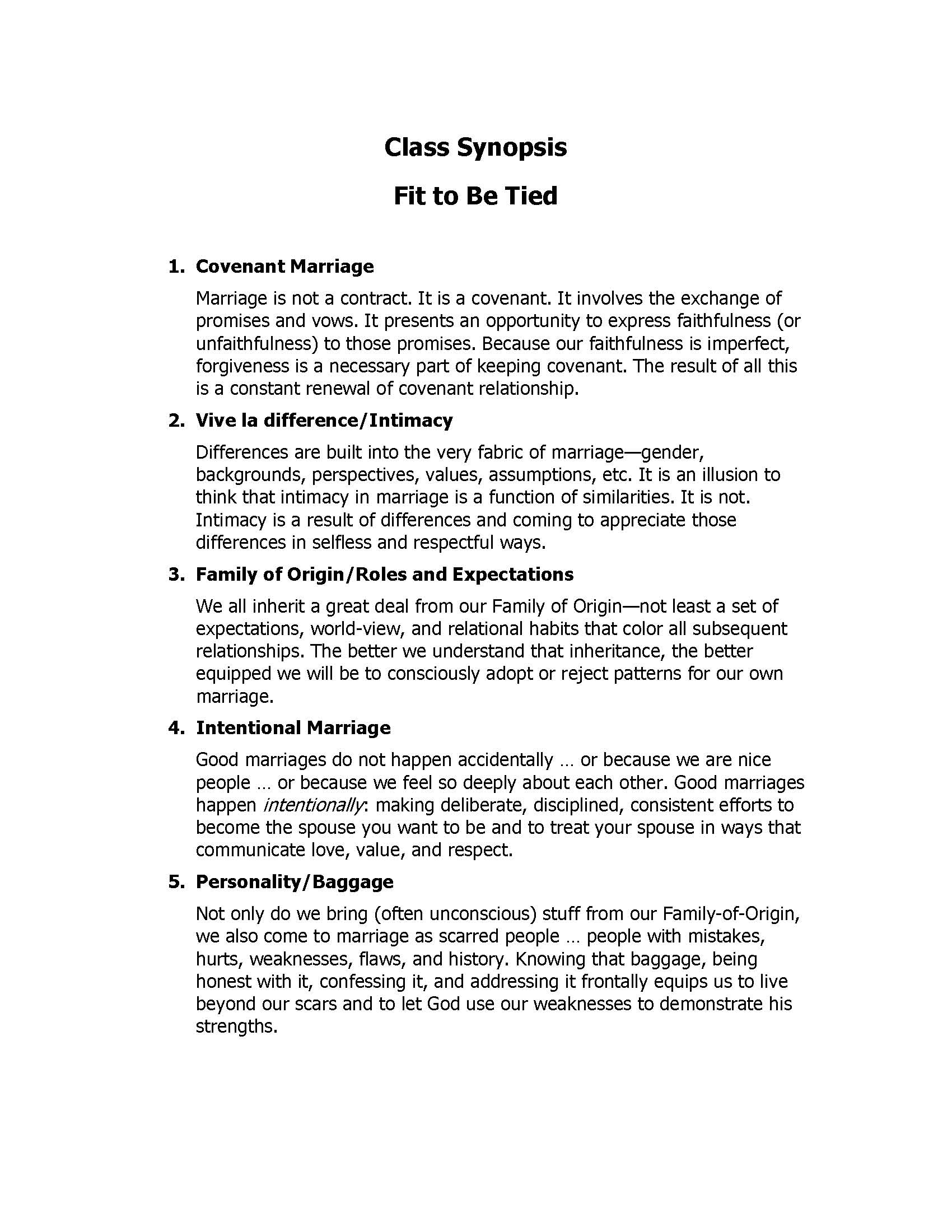 "Syllabus for ""Fit to Be Tied"" class--my class for couples preparing for marriage"