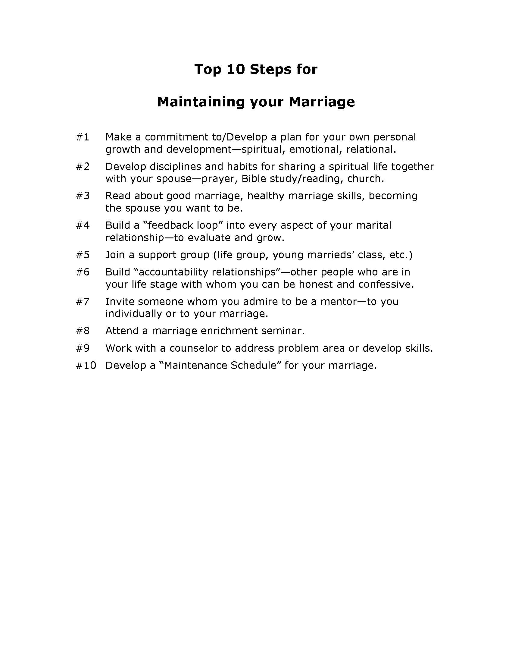 Maintaining your Marriage