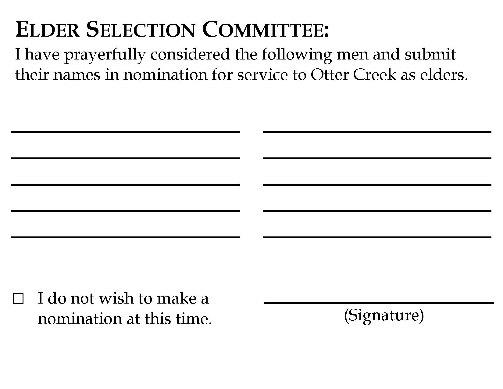 Form used by congregation to nominate new Shepherds.